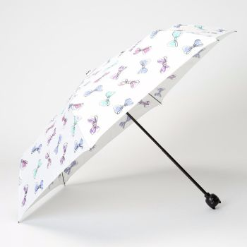 LINDY BOP 'Cat' Cream Bow Print Folding Umbrella Cat Handle Matching Case