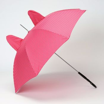 LINDY BOP 'Ears' Red / Pink Polka Dot Umbrella with Ears Automatic Button Release
