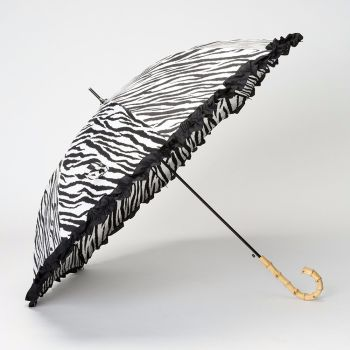LINDY BOP ''Bamboo' Zebra Print Umbrella Frilled Canopy Automatic Button Release