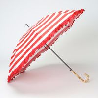 LINDY BOP 'Bamboo' Red Stripe Umbrella Frilled Canopy Automatic Button Release