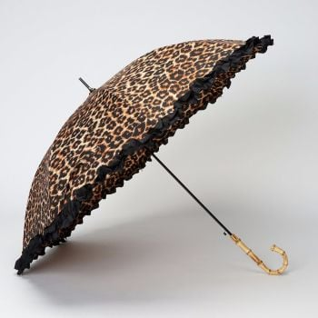 LINDY BOP 'Bamboo' Leopard Print Umbrella Frilled Canopy Automatic Button Release