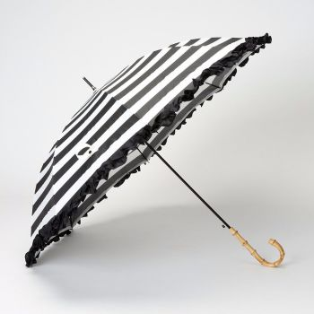 LINDY BOP 'Bamboo' Black White Stripe Umbrella Frilled Canopy Automatic Button Release