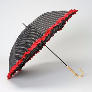 LINDYBOP 'Bamboo' Black Polka Dot Umbrella Red Frilled Canopy Auto Button Release