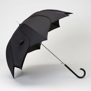 LINDYBOP 'Petal' Black Flower Shaped Umbrella Automatic Button Release