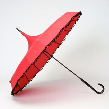 LINDY BOP 'Pompom' Red Pagoda 50s Style Canopy Umbrella