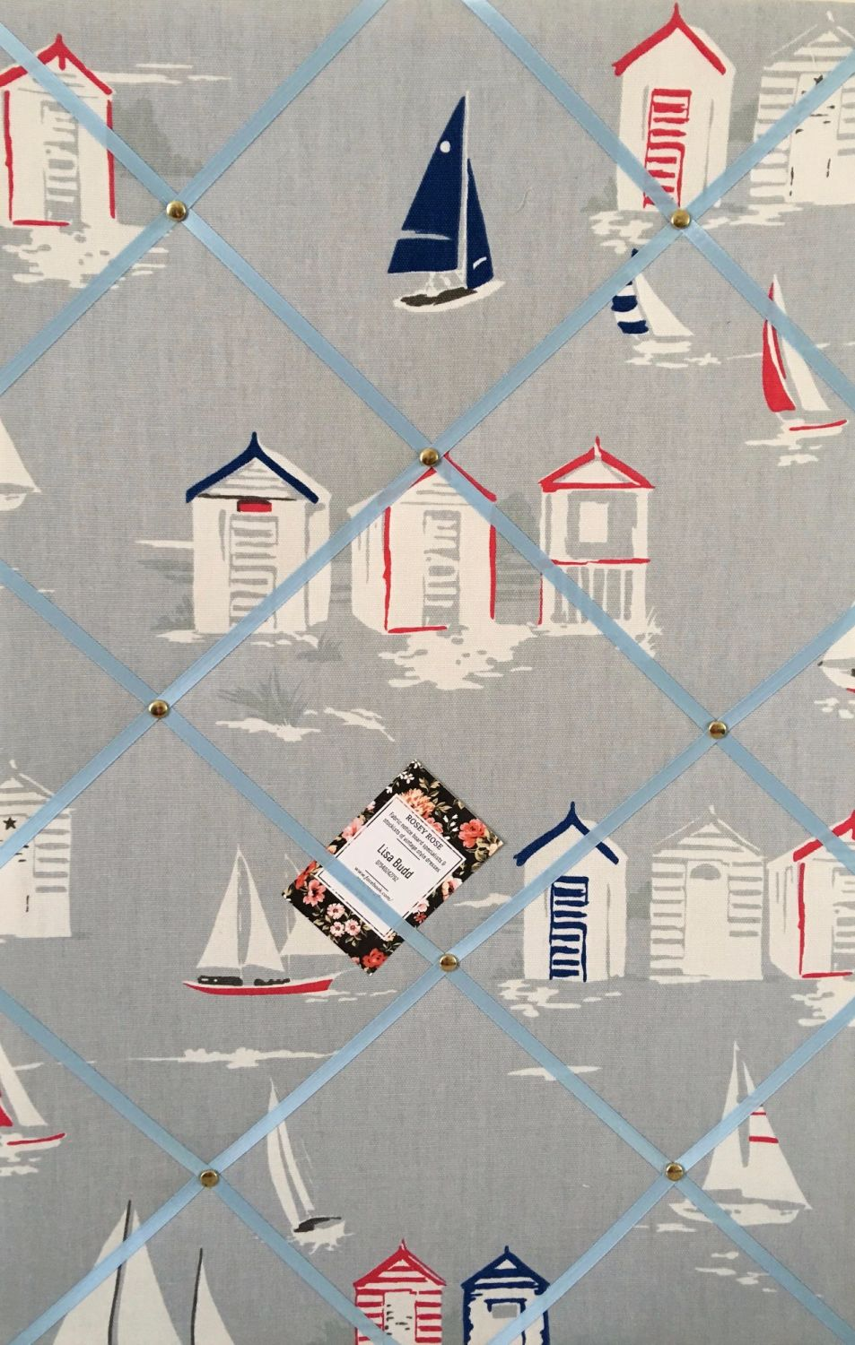 Large 60X40cm Clarke & Clarke Vertical Beach Huts Seasise Hand Crafted Fabr