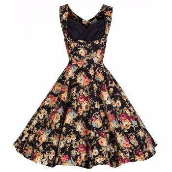 Lindy Bop Ophelia Black Floral Spring Garden Party Picnic Vintage 50s Dress