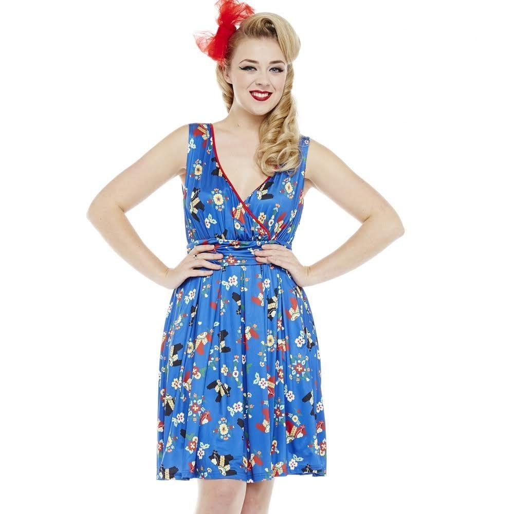 Lindy Bop Ladies 'Sofia' Pinata Print Blue V Neck Wrap Bodice Dress