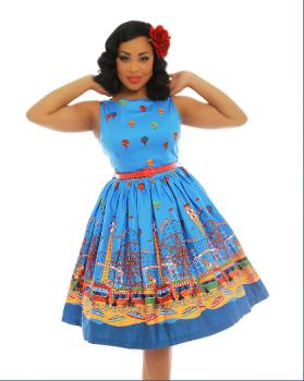 Lindy Bop Audrey Blue Fairground Print Cotton 1950s Swing Dress With Red Belt