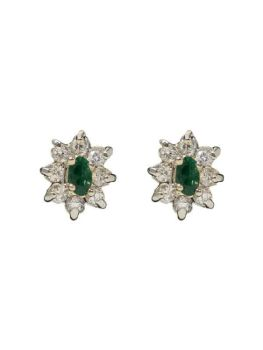 Collectif Diamante Green Cluster Stud Earrings