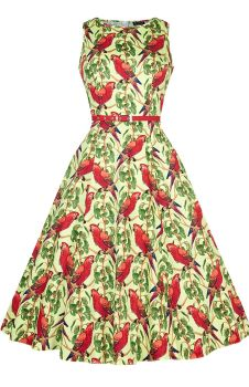 Ladies Lady Vintage 1950s Classic & Elegant Hepburn Dress - Unique Parrots
