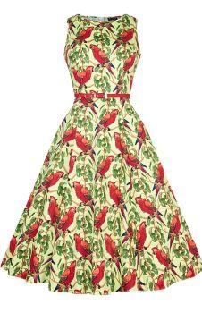 Ladies Lady Vintage 1950s Classic & Elegant Hepburn Dress - Unique Parrots