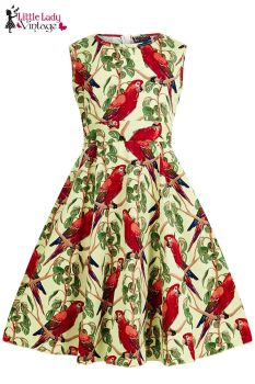 Children's Little Lady Vintage 1950s Cute Unique Parrots Hepburn Dress