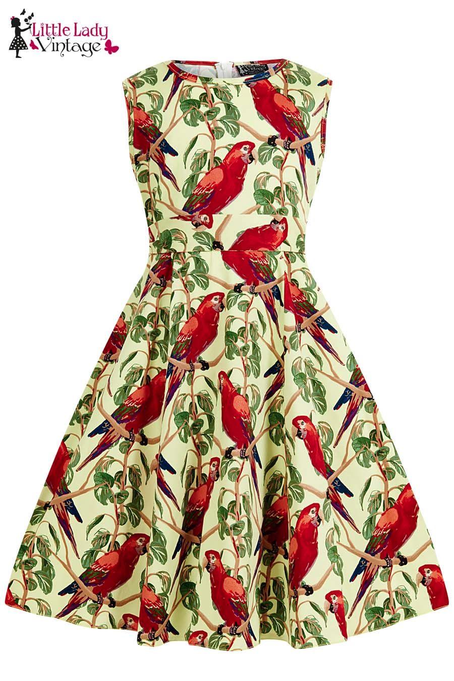 Children's Little Lady Vintage 1950s Cute Unique Parrots Hepburn Dress