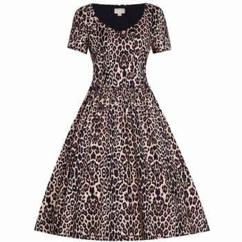 Lindy Bop 'Dolce' Classic Leopard Print Tea Dress