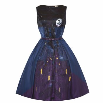 LINDYBOP Audrey Gothic Castle Print 1950s Swing / Party / Halloween Dress