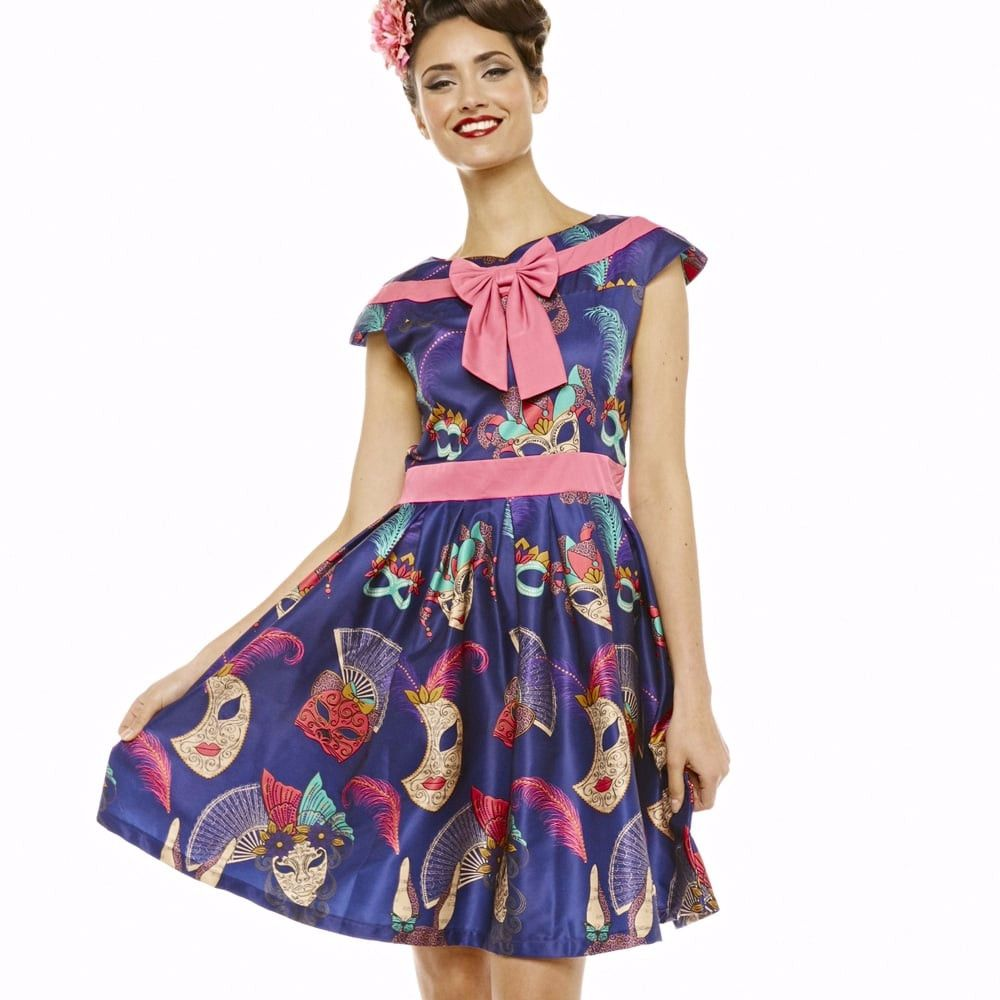 LINDY BOP Ariana Navy Masquerade Mask Print Pink Bow Vintage Style Swing Dr