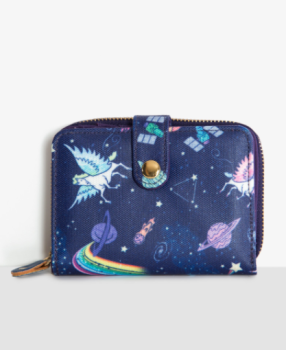 Lindy Bop 'Pursia' Purple Blue Space Unicorn Print Purse With Multiple Cash & Card Compartments