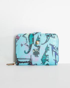 Lindy Bop Pursia Aqua Blue Dinosaur Print Purse With Multiple Cash & Card Compartments