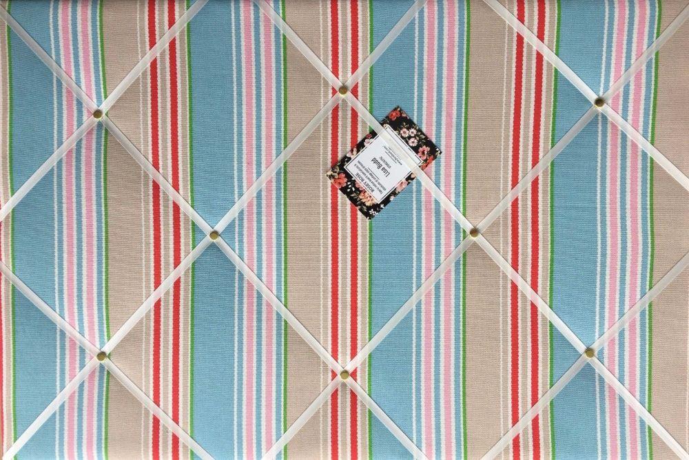 Medium 40x30cm Cath Kidston Ric Rac Stripe Hand Crafted Fabric Notice / Pin