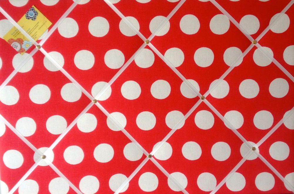 Extra Large 90x60cm Cath Kidston Big Red Spot Fabric Notice / Pin / Memo /