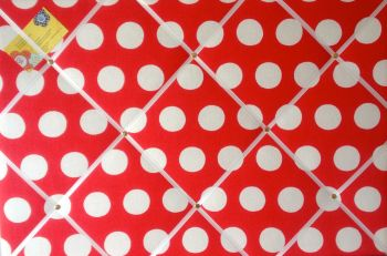 Extra Large 90x60cm Cath Kidston Big Red Spot Fabric Notice / Pin / Memo / Memory Board
