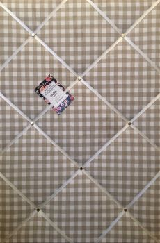 Extra Large 90x60cm Laura Ashley Taupe Gingham Hand Crafted Fabric Notice / Pin / Memo / Memory Board