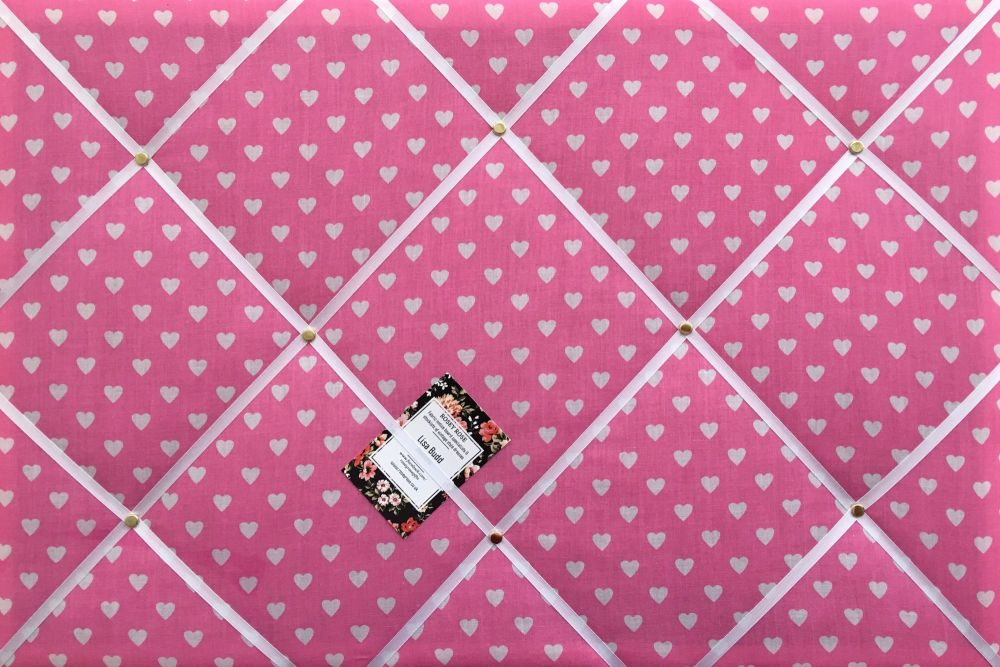 Medium 40x30cm Pink & White Heart Hand Crafted Fabric Notice / Pin / Memory