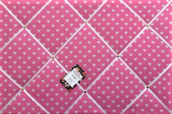 Extra Large 60x90cm Pink & White Heart Fabric Pin / Memo / Notice / Memory Board