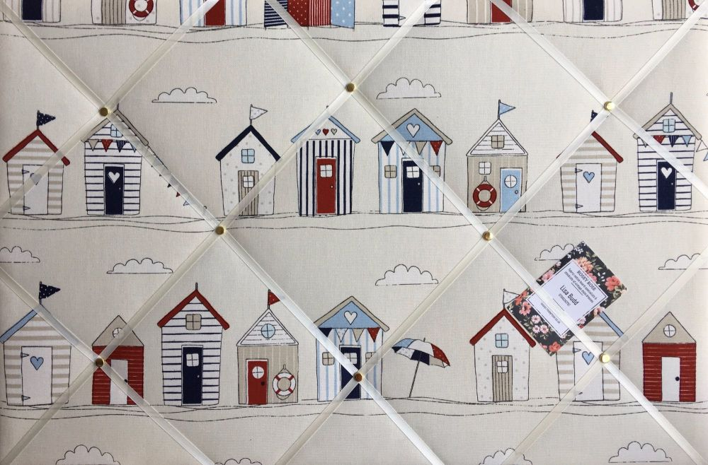 Medium 40x30cm Fryetts Seaside Beach Huts Hand Crafted Fabric Notice / Memo