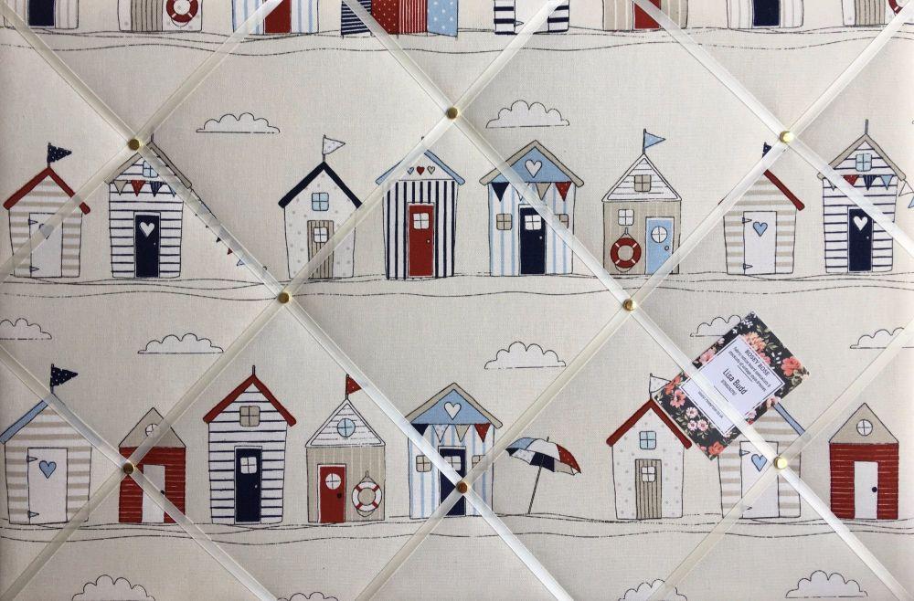 Medium 40x30cm Fryetts Seaside Beach Huts Hand Crafted Fabric Notice / Memo