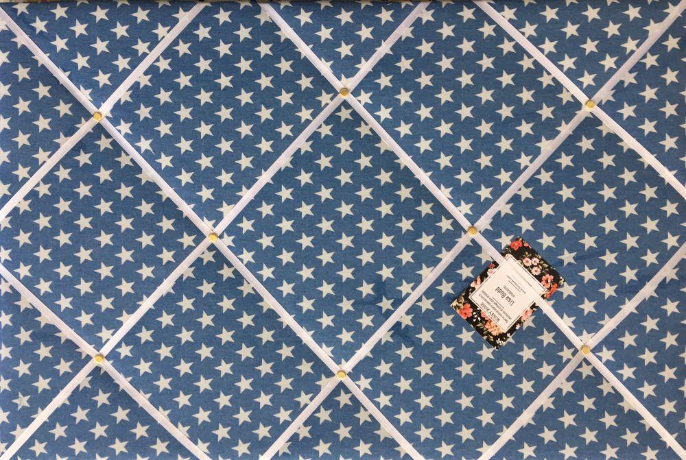 Medium 40x30cm Blue Denim Star Hand Crafted Fabric Notice / Memory / Pin /