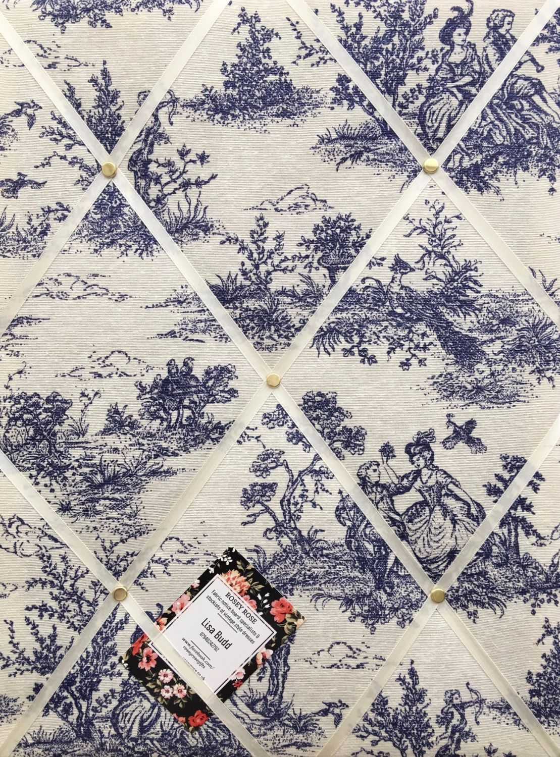 Medium 40x30cm Vintage French Lovers Toile De Jouy Navy Hand Crafted Fabric