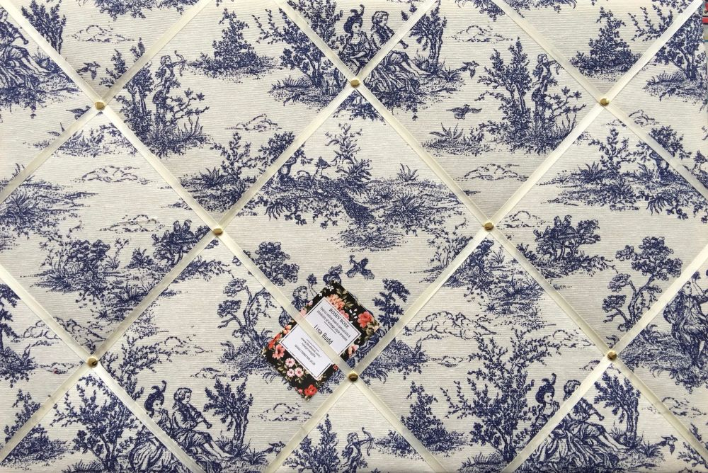 Large 60x40cm Vintage French Lovers Toile De Jouy Navy Hand Crafted Fabric