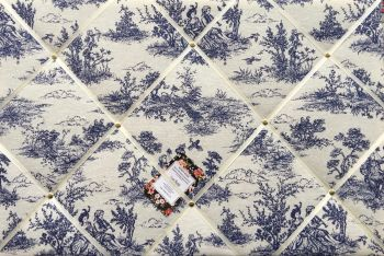 Extra Large 90x60cm Vintage French Lovers Toile De Jouy Navy Hand Crafted Fabric Notice Pin Memo Memory Board