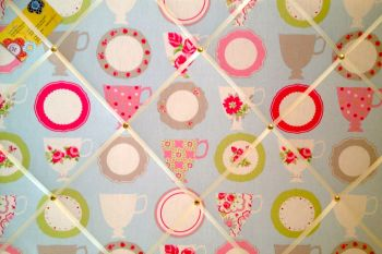 Extra Large 90x60cm Clarke & Clarke Tea Cups Duck Egg Fabric Pin / Memo / Notice / Memory Board