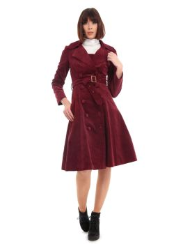 COLLECTIF Bright & Beautiful 70s Style Pincord Sage Cord Wide Collar Double Breasted Coat Burgundy Red