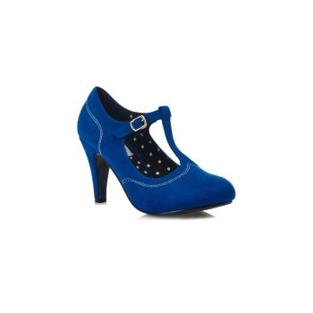 LULU HUN Brittany T Bar Faux Suede Vintage Style Royal Blue High Heel Shoes