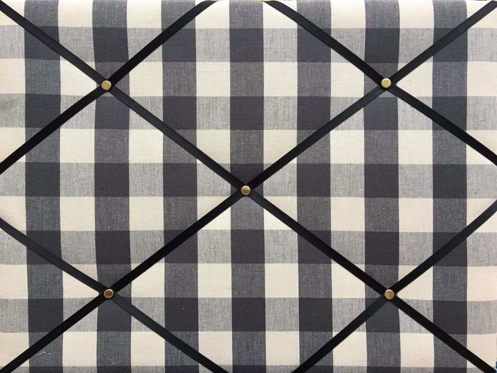 Medium 40x30cm Fryetts Woven Charcoal Gingham Hand Crafted Fabric Memory No