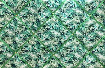 Large 60x40cm Green Tropical Paradise Jungle Hand Crafted Fabric Notice / Memory / Pin / Memo Board