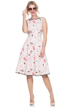 Voodoo Vixen Retro Vintage Style Jacqueline Pink / Beige Paper Doll Flared Dress, Black Hem & Back Detail