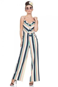 Voodoo Vixen Vintage Inspired Disco Zarah Striped Wide Leg Stripe Jumpsuit