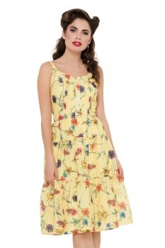 Voodoo Vixen Vintage Inspired Lined Sylvia Yellow Floral & Gingham Dress