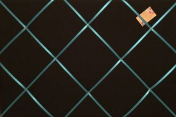 Large 60x40cm Black with Turquoise Blue Ribbon Hand Crafted Fabric Notice / Memory / Pin / Memo Board
