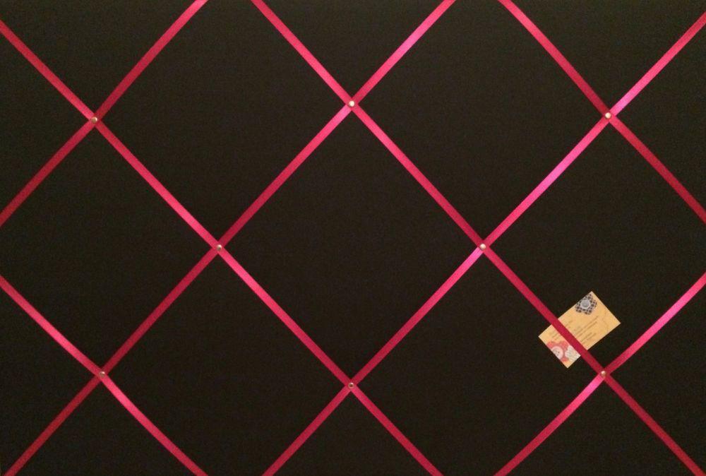 Extra Large 90x60cm Black With Shocking Pink Ribbon Fabric Pin / Memo / Not