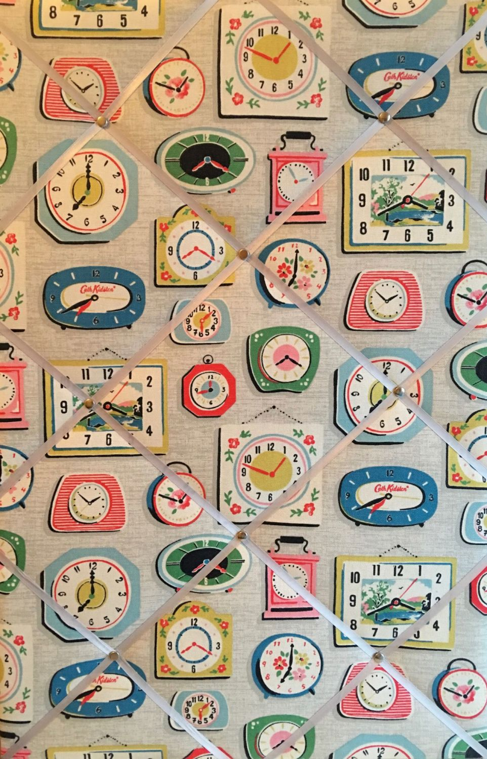 Large 60x40cm Cath Kidston Clocks Grey Vertical Hand Crafted Fabric Notice