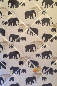 Extra Large 90x60cm Marson Grey Elephants Vertical Hand Crafted Fabric Notice / Pin / Memo / Memory Board