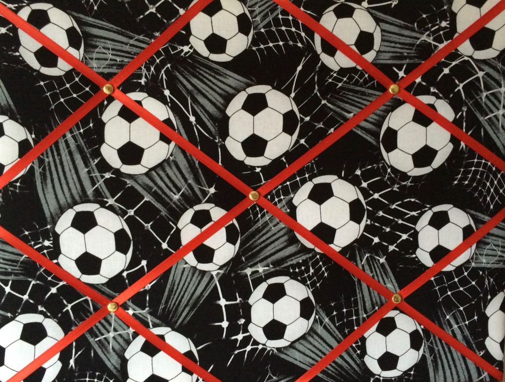 Medium 40x30cm Black & White Sports Football Soccer Red Ribbon Hand Crafted