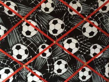 Medium 40x30cm Black & White Sports Football Soccer Red Ribbon Hand Crafted Fabric Notice / Memory / Pin / Memo Board