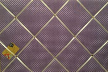 Extra Large 60x90cm Lilac White Polka Dots Hand Crafted Fabric Notice / Pin / Memory / Memo Board